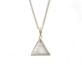 Rock crystal necklace with triangle, gold plated