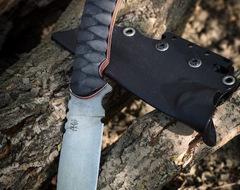 Artemis Arcadian O-1 outdoor/ bushcraft/ hunting knife in O-1 Tool Steel with acid stonewash and micarta / G10 handle scales