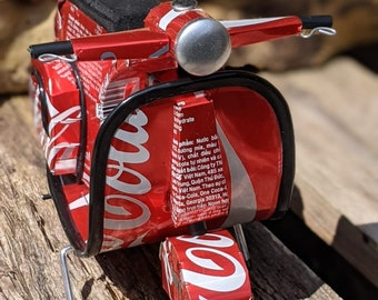 Recycled Tin Can Model: Large Coke / Coca-cola Vespa