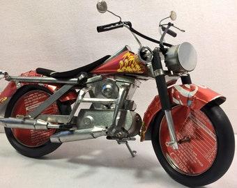 Recycled Tin Can Model: Coke / Coca-cola Harley Davidson Chopper