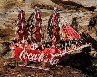 Recycled Tin Can Model: Coke / Coca-cola Tall ship