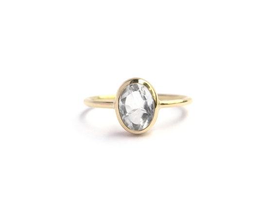 Goldring, 750 Goldring mit Bergkristall, 750 Goldring mit Bergkristall, Verlobungsring, Bergkristallring, Bergkristallgoldring, Größe 54.5