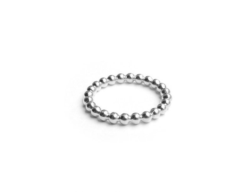 A25 Silver bead ring Stacking ring /'Ti Amo/'