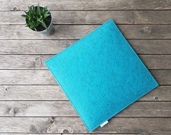 Seat cushions/ felt cushions/ chair cushions/ chair rest 35 x 35 cm 2-ply with filling/ reversible/ also two-tone/ free colour samples gladly in advance