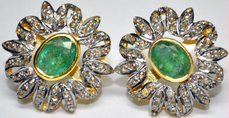 Victorian style Rose cut Diamond emerald sterling silver studs earrings flower studs floral studs