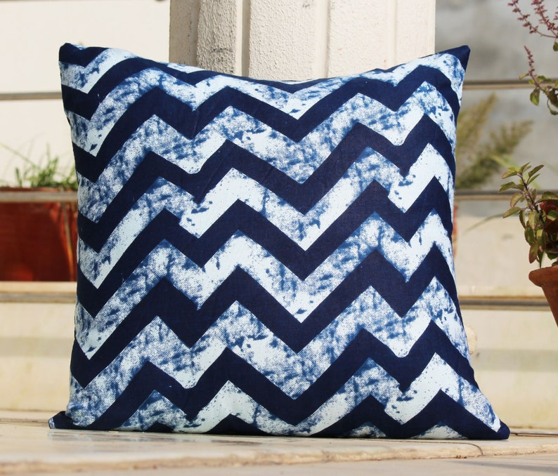 Swell Handmade Blue Zig Zag Decorative 100 Cotton Pillowcase For Couch Vintage Cushion Cover Gypsy Indian Bohemian Sofa Bed 16X16 Cushion Covers Pdpeps Interior Chair Design Pdpepsorg
