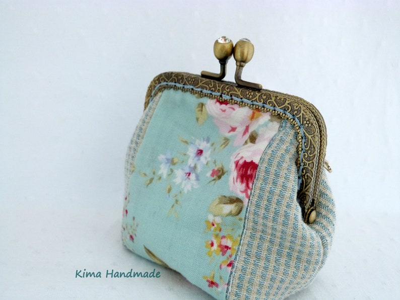 purse with mouthpiece Fabric wallet with mouthpiece blue and pink purse women/'s gift monceder handmade purse cloth holder