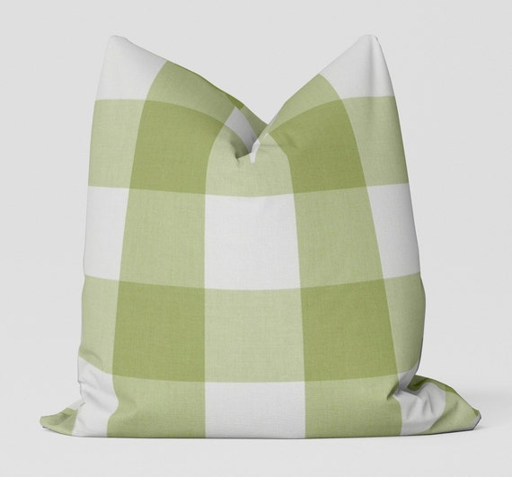 Campers Check Pillow Cover Celery Indoor Outdoor Etsy