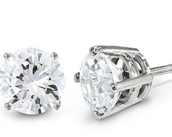 70ce1aa1f Genuine .10 Carat Round Diamond Earrings 14K White Gold