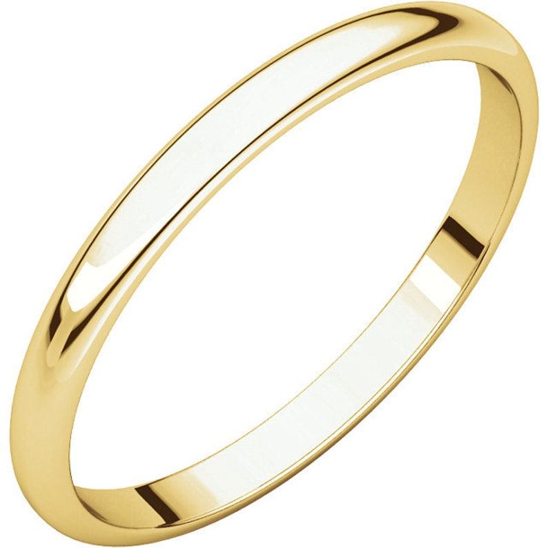 10K Yellow Gold 2mm Half Round Light Wedding Band