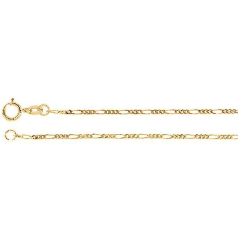 14K Yellow Gold 1.25 mm Figaro Chain