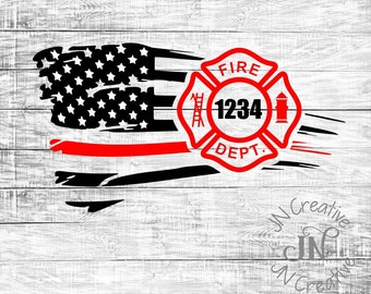 d29df619a05 Firefighter Badge Decal | Thin Red Line Decal | American Flag decal |  Firefighter Gift | Car Decal | Fireman | Firefighter | Tumbler Decal