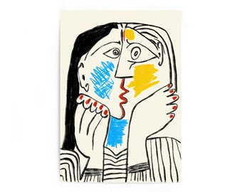 PICASSO GIRL MIRROR OIL PAINT REPRINT ON FRAMED CANVAS WALL ART DECORATION