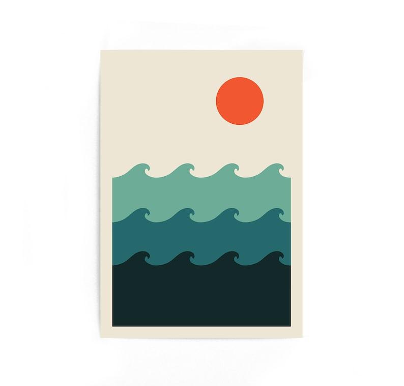 Waves  Modern Wall Art Geometric Art Abstract Print Nordic image 0