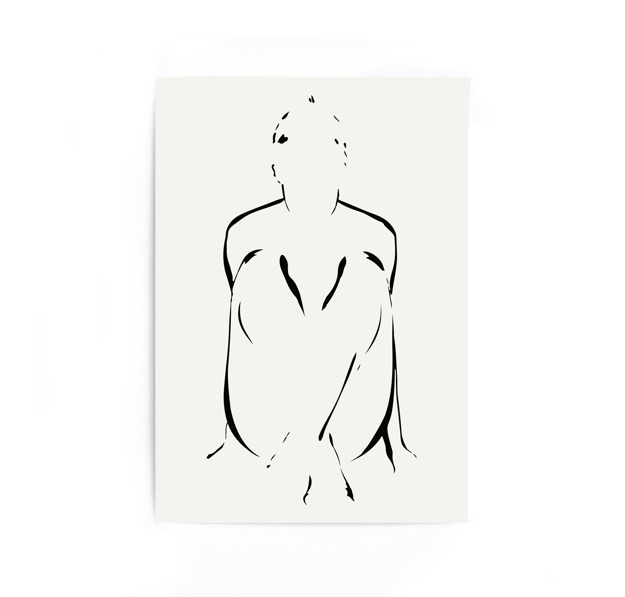 Pencil sketch figure drawing abstract black and white art nude sketch simple line art print from original artwork single print sale shipping