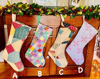 Quilted Christmas stockings, handmade stockings, vintage quilt, antique quilt, Christmas decorations