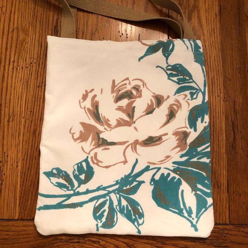 Vintage tablecloth vintage tote tote repurpose vintage tablecloth cotton tote shabby chic tote rose images shopping bag