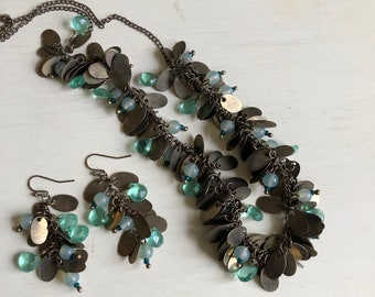 cluster jewelry antique gold light green and blue crystals and beads necklace and earring set