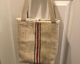 Farmhouse fabric, grain sack, heavy canvas, feed bag tote, shopping bag, tote, cotton tote shabby chic tote, farmhouse bag