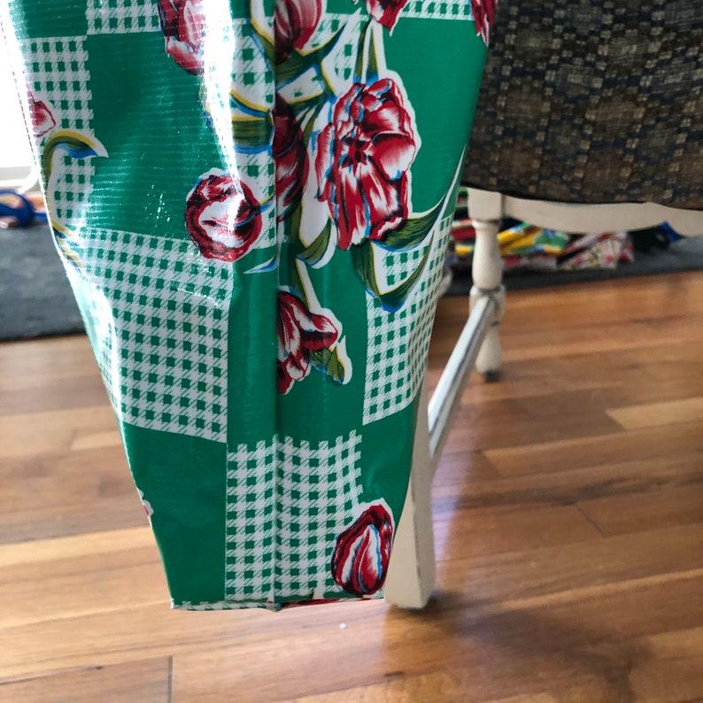 oil cloth Red tulip print mexican oil cloth bag tulip oil cloth tote reusable bag shopping bag
