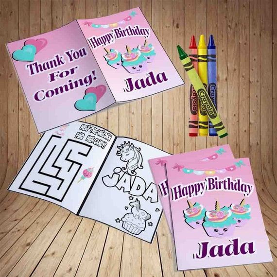Unicorn Personalized Coloring Book Customized Unicorn Etsy