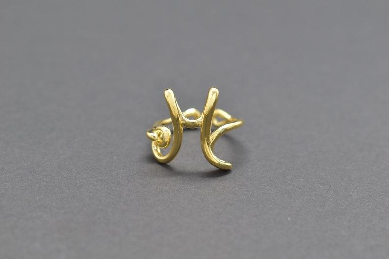 Alphabet ring 1pc Enhanced gold plating Inner 16mm H Adjustable ring ARW-HG Cursive 16K shiny gold plated brass