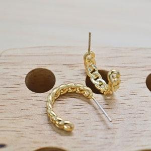 Palladium Nickel free Star 6.5mm Star earring post CEM-18G 2pcs Cubic zirconia 16K gold plated brass