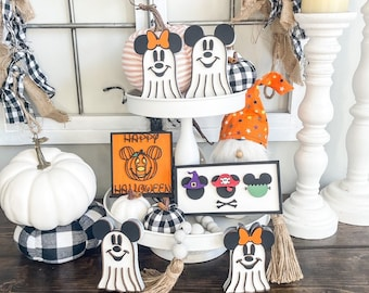 Mickey and Minnie Halloween Tiered Tray Decor/Mini laser cut signs/Halloween decorations/Disney themed Halloween