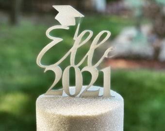 Graduation Cake Topper/Custom Name Cake Topper/Wood Laser Cake Decor