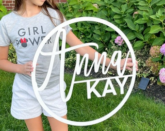 Nursery Name Sign/Laser Cut Wood Sign/Round Baby Name Sign/Custom Baby Name Decor/Baby Shower