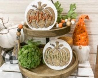 Gather Pumpkin Sign/Thankful Pumpkin Sign/Laser cut signs/Tiered Tray decor/Farmhouse Decor