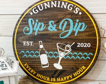 Sip and Dip Sign/Funny Pool Bar Sign/Custom Outdoor Sign/Mother's Day/Father's Day gift/Birthday gift for him