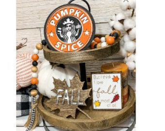 Tiered tray Fall signs/Fall bundle wood signs/Pumpkin Spice Wood Sign
