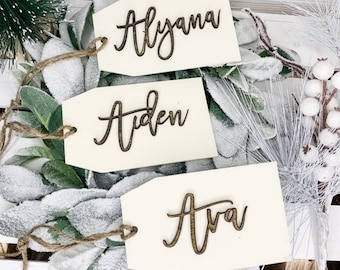 Wood Name Tags/Stocking Name Tag/Personalized Gift Tags/3D Name tags