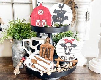 Farmhouse kitchen tiered tray/3D wood signs/Laser cut signs/Farm Life Home Decor