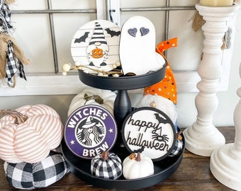 Halloween Decor/Tiered tray signs/Pumpkin Gnome/3D wood signs/Laser cut signs/Happy Halloween/Mini Signs