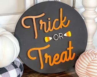 Trick Or Treat Wood Sign/3D laser cut wood sign/Fall Decor/Shiplap Sign
