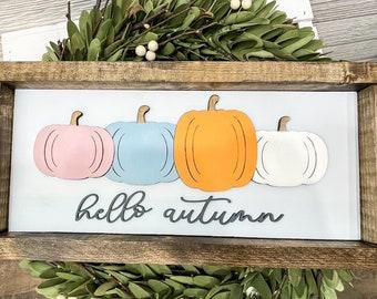 Hello Autumn Pumpkin Wood Sign/3D laser cut wood sign/Fall Decor/Pumpkin Decor