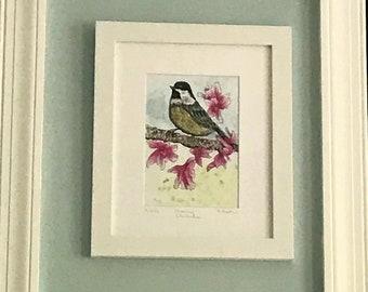 Hand Painted Water Color Art, Chickadee Painting, Morning Bird Art, 5 x 7 Bird Print, Matted Watercolor Print, Framed Bird Print