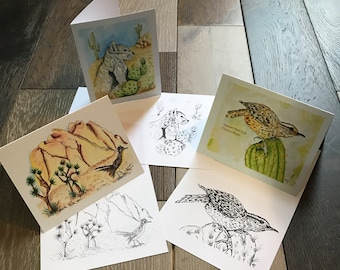 Hand painted watercolor art | Desert Note card Collection | Illustrated Hand Watercolor and Ink  Prints with Envelopes | Bag of 12