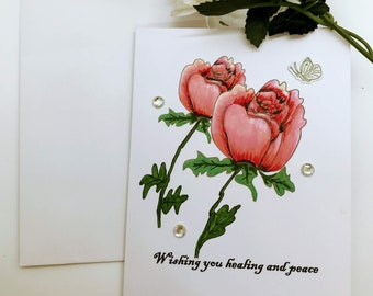 Sympathy Card Rose Bud | Illustrated Hand Water-colored Sympathy Card | 3D Butterfly Sticker | Glass Jewel Embellishment