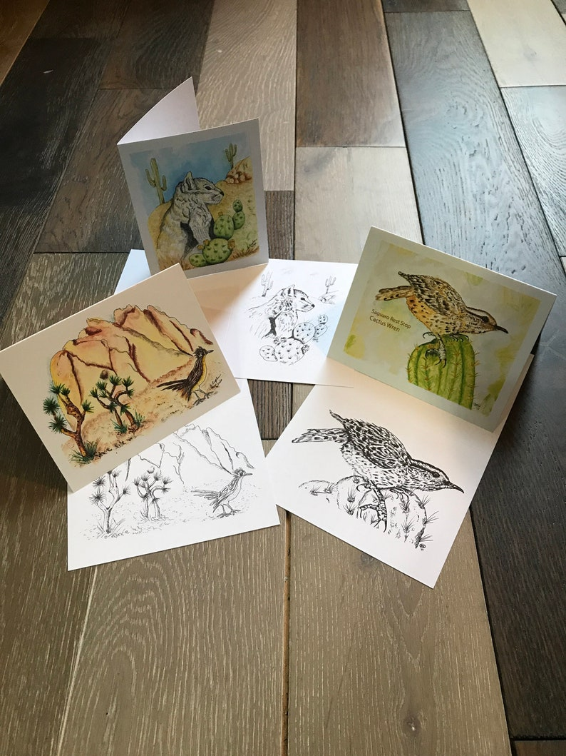 Desert Notecard Collection  Illustrated Hand Watercolor and image 0