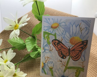 Note cards Butterfly Haven | Illustrated Hand Water colored Blank Notes | Bag of 10