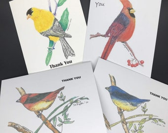 Bird Note cards Thank You | Song Bird Thank you Cards with sentiment and Envelopes | Watercolor Bird Print Cards | Bag of 8