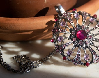 Round Silvertone and Pink Rhinestone Pendant Necklace