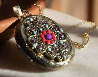 Goldtone with Blue and Pink Inlaid Bead Locket Necklace