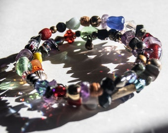 Multicolor Beaded Memory Wire Wrap Bracelet