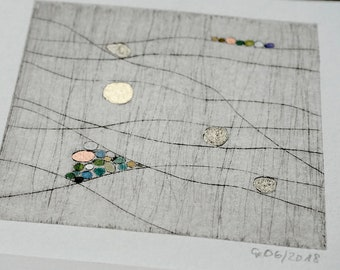 """Etching """"From Dots and Planets"""", original, hand-printed cold needle etching in passepartout, coloured with bronzes, print"""