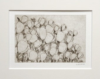 "Etching ""Flowery"", original, hand-printed cold needle etching in passepartout, printmaking"
