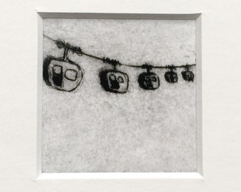 """Etching """"Cable car"""" in passepartout - original print, hand-printed cold needle etching, printmaking"""